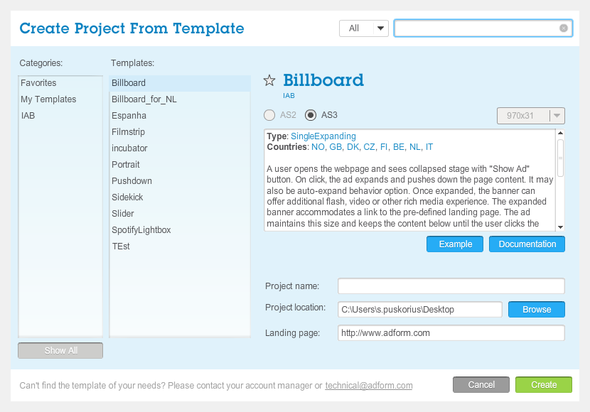 Adform | Save Project as a Template